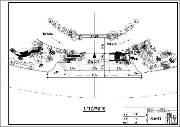 某地一层框架结构大门建筑结构设计施工图纸