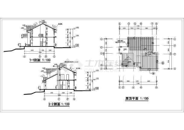 该为某农村三套小型别墅建筑方案设计图,图纸内容包含:各层,屋顶平面