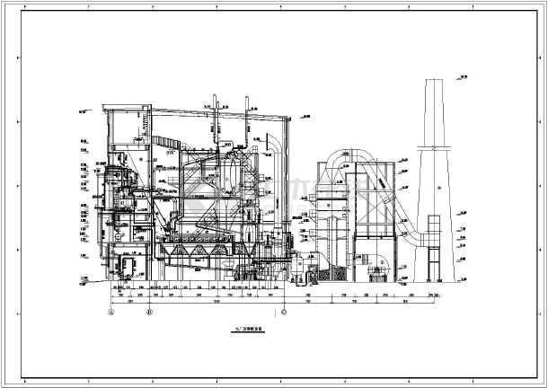 2x75t/h蒸汽锅炉房系统图及平剖面设计图