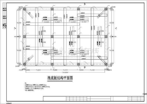 包括:总说明,池底结构平面图,池顶结构平面图,剖面图,设备布置图.