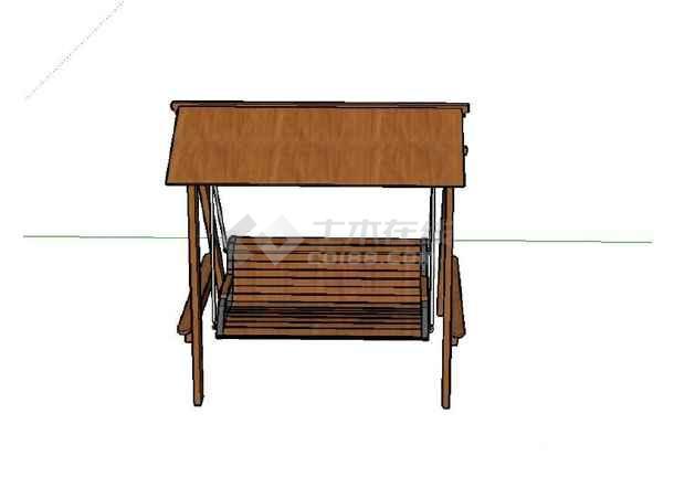 某景观木质秋千椅设计su模型(不含施工图)图片1