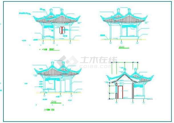 某古建双亭建筑图中国古建图(共8张)图片3