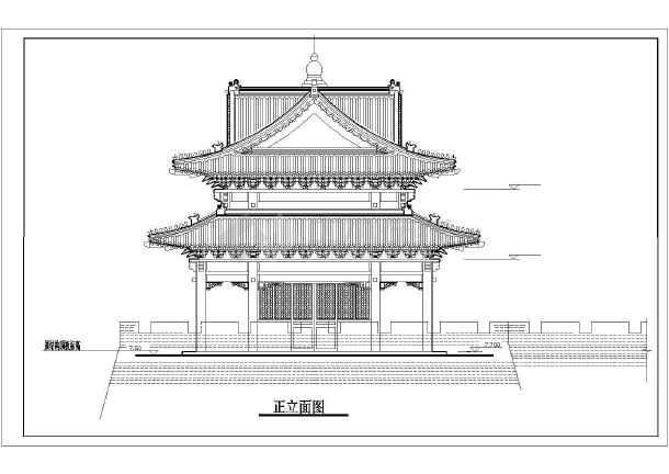 某经典式仿古建筑设计施工立面图纸图片2