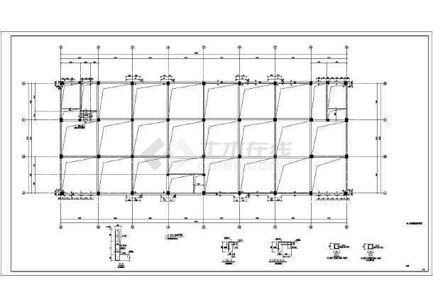 时尚的框架结构五层餐厅屋顶空间网架结构cad施工图(含网架设计说明)