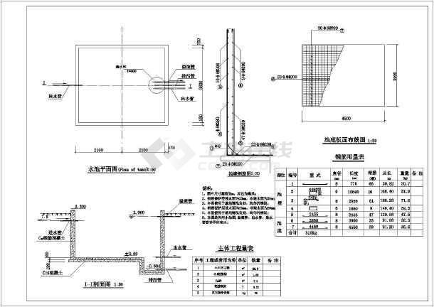 50m3埋身式蓄水池结构图,30m3埋身式蓄水池结构图,20m3地下式蓄水池