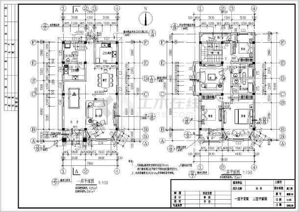 为某农村三层框架结构简欧风格别墅建筑设计施工图,建筑占地面积108.
