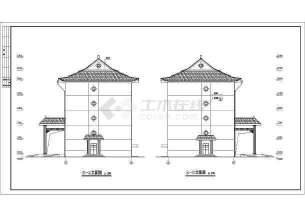 某地5层框架结构古建墓园建筑设计施工图