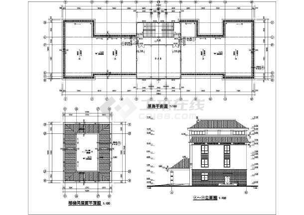 后勤部三层办公楼建筑设计方案图,采用框架结构,内容包含:各层平面图
