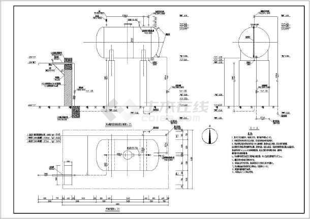 本图纸为20m3玻璃钢污水罐管线及拉运栓安装图,图纸内容包括:平面