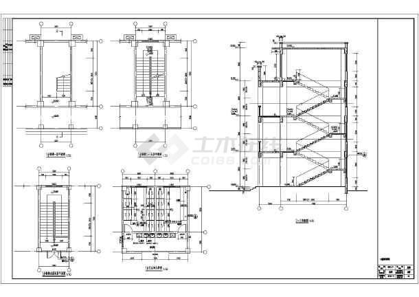 框架结构小学教学楼施工图,图纸包括各层平面图,立面图,剖面图及楼梯