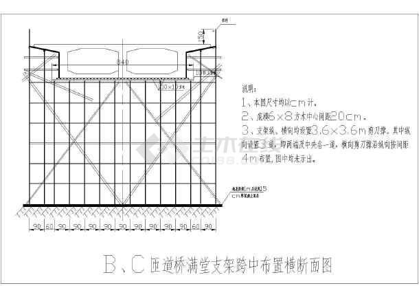 跨高速预应力现浇梁现浇支架设计结构图