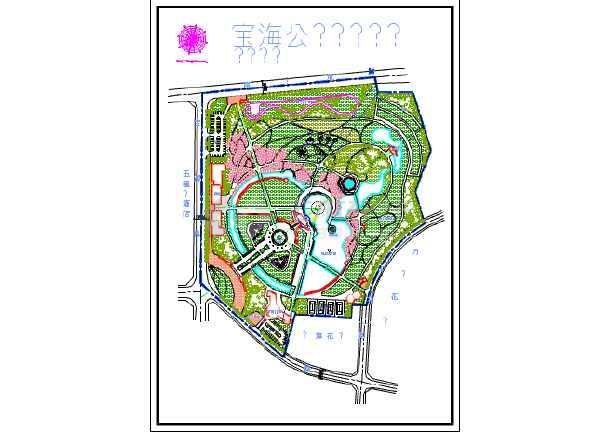小型西山公园西区建筑设计规划图,包括种植设计平面图,总平面布置图