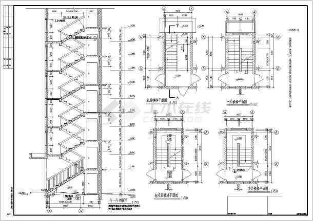 框架结构住宅楼结构设计施工图,图纸内容包括:柱网布置图,基础平面