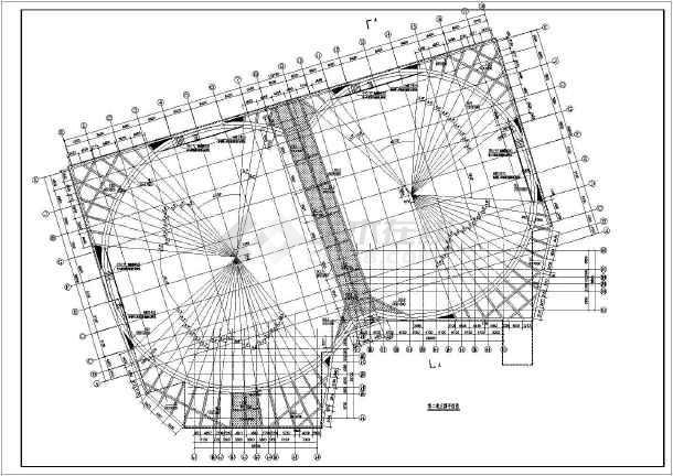 天津某建筑工程眼镜形状双圆环内支撑围护设计方案图纸