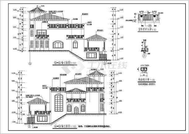 某地三层欧式风格别墅建筑设计施工图