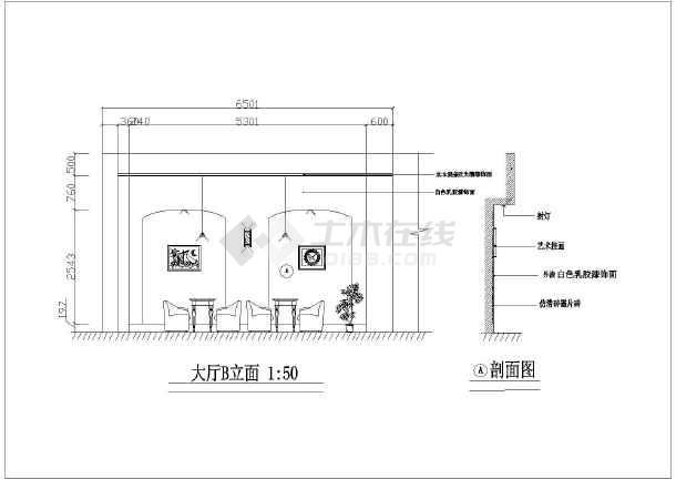 某地区单层咖啡馆建筑装修设计局部图_cad图2008cad放大方案图片