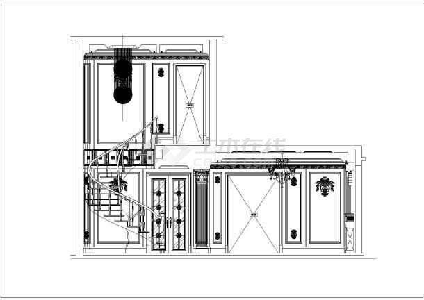 浙江某地区奢华别墅双层室内装修施工图,含效横剖面别墅图图片