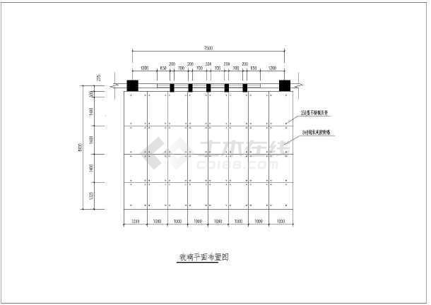 6m跨度悬挑钢结构玻璃雨棚结构施工图-图1