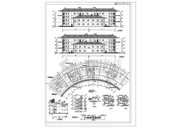 南方某四层格式式砖混客家结构图纸建筑施工图cad打印土楼导出宾馆什么图片