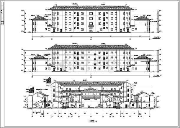 南方某四层土楼式砖混结构客家宾馆建筑施工图