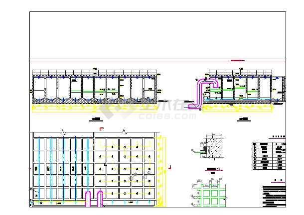 某镇自来水厂的絮凝网格池v絮凝施工图_cad图图纸孔的图片