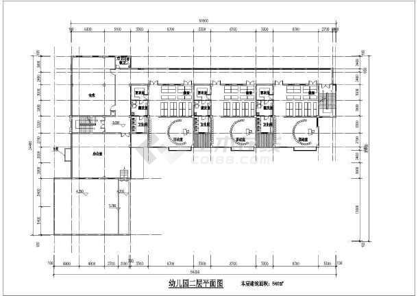 某地区三层9班幼儿园建筑平面设计图片