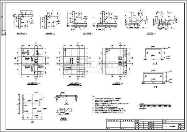 某地下室室内消防水池设计施工图纸图片1