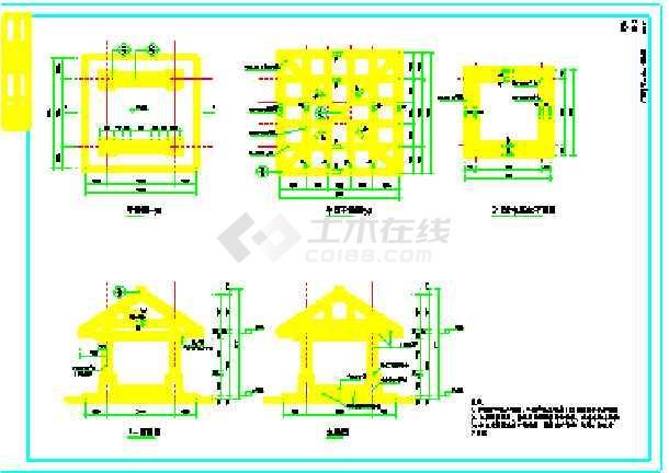 某地广场,花架,亭,铁艺围墙设计图