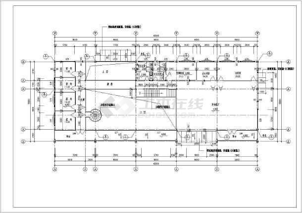 某宏伟售楼处办公楼建筑CAD设计施工图(标注详细)-图3