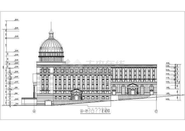 欧式复古风格现代办公楼穹顶建筑设计cad施工图纸