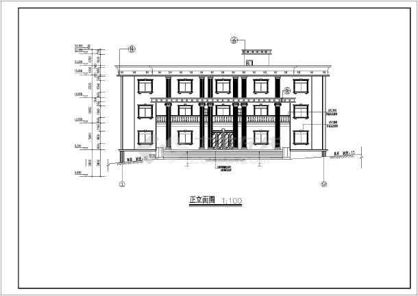 某地三层框架结构办公楼建筑设计施工图