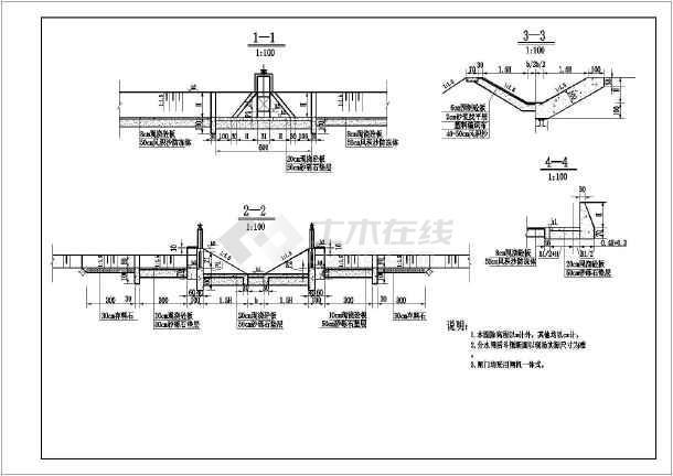 水利水电工程某灌区水闸结构布置图