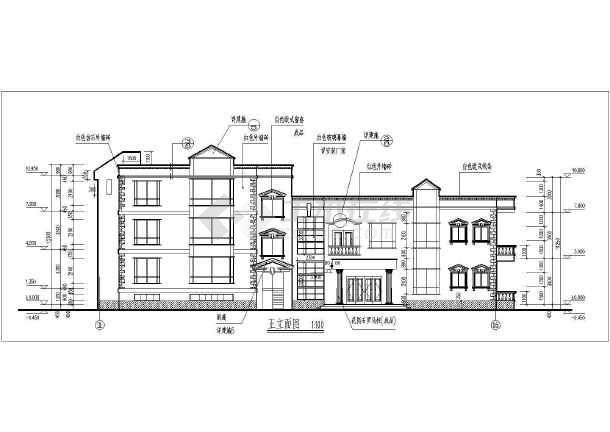 某地三层框架结构商住楼建筑方案设计图