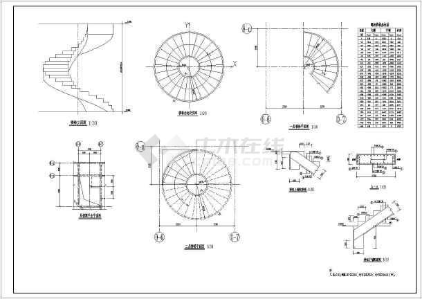 cad螺旋楼梯平面图