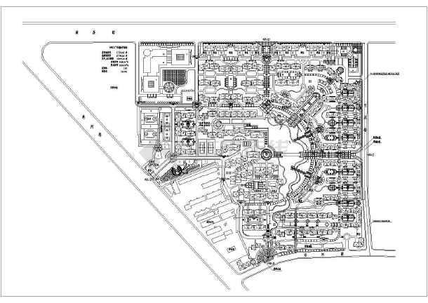 小区规划设计总平面布置图,内容主要包括:商业区,住宅区,小学,幼儿园
