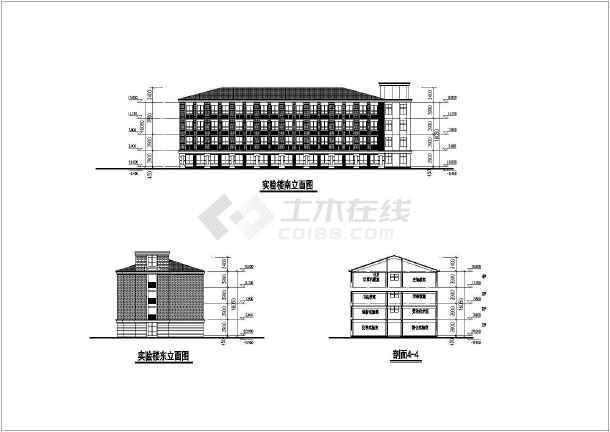 上海某中学平立剖建筑方案设计图纸