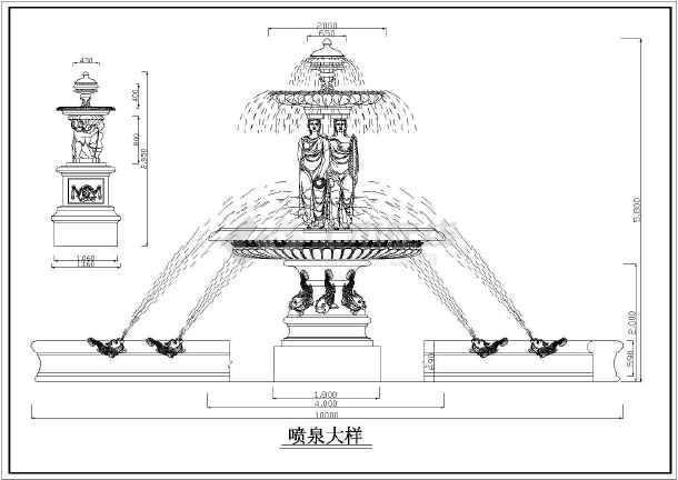 各种类型罗马柱,喷泉造型构造大样图