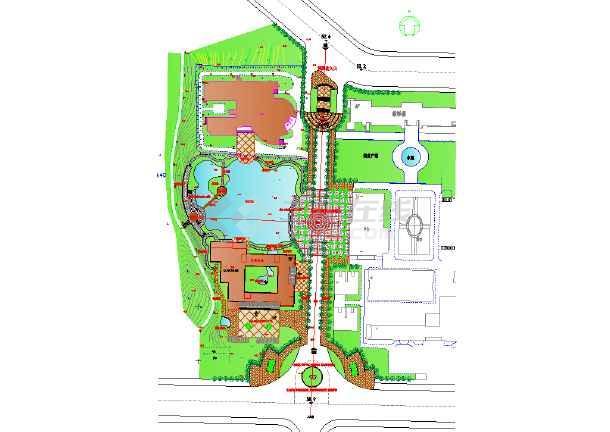 本图纸为北京某专科院校景观规划设计图,图中教学楼,绿化广场均有图片
