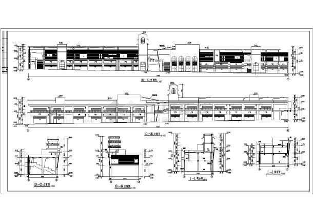 某地二层框架结构商业街建筑设计施工图