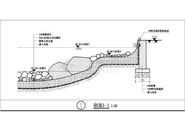 溪流水池设计图(水池设计)  不同类型的驳岸,水池施工说明图集