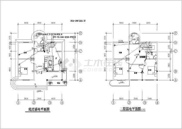某2层别墅室内装修设计水电施工图_cad图纸下载-土木