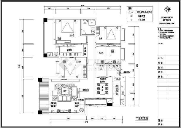 民用部分三房二厅住宅装修设计户型广联达显示导入图纸图纸