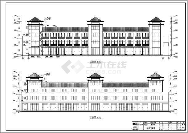 某三层简约中式沿街商业楼建筑设计施工图高清图片