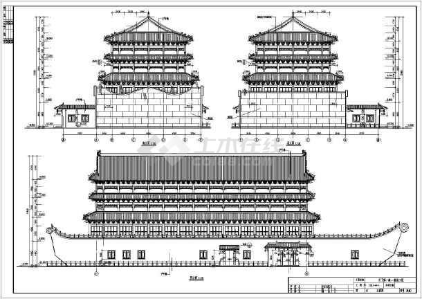某地区四层仿古宾馆建筑设计方案图