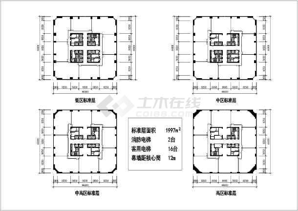 图纸 建筑图纸 办公楼设计 高层办公楼 某地核心筒结构高层写字楼建筑图片
