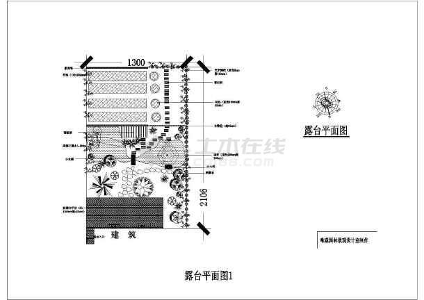 某建筑露台屋顶花园景观设计图纸图_cad方案cad缩放倍图也一变比例图片
