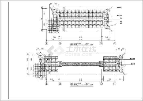 钢筋混凝土结构仿古牌坊建筑设计施工图,包括:设计施工图说明,牌坊柱