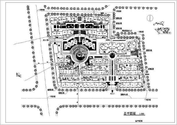 某小型广场软件景观设计CAD总平图_cad图纸模板cad住宅图片