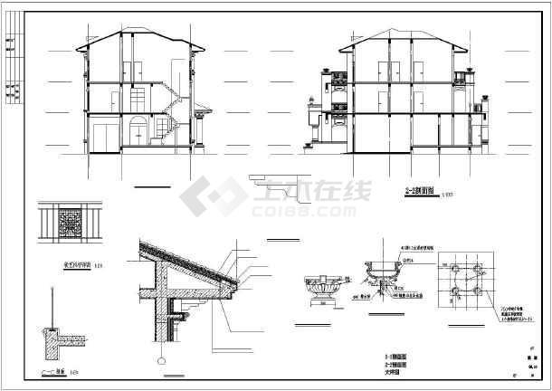 某地三层带架空层框架结构别墅建筑设计方案图