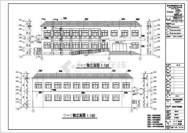 某地两层框架结构学校实验楼建筑设计施工图纸